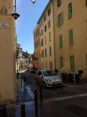A cute street in Cannes on the tiny train tour