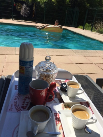 Coffee time beside the pool