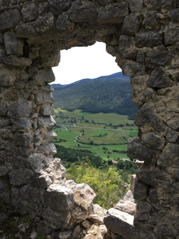 View to the valley through the ruins