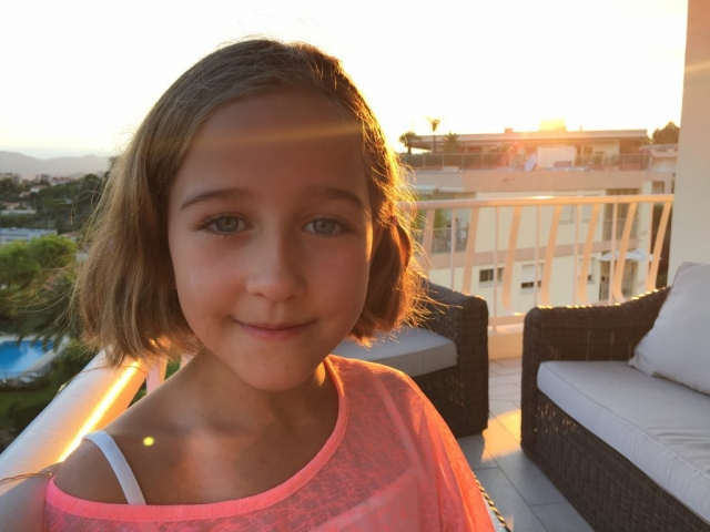 Vivi in the setting sun in France