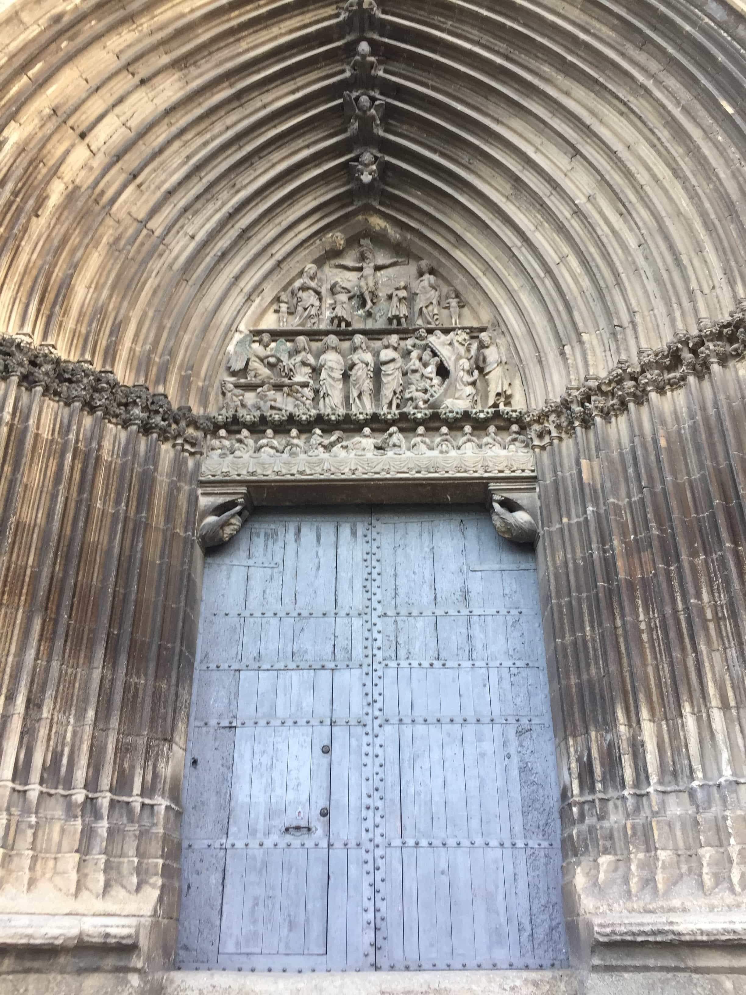 Door of the church in Estella