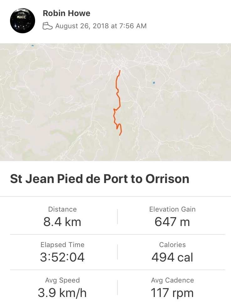 Strava: SJPDP to Orisson