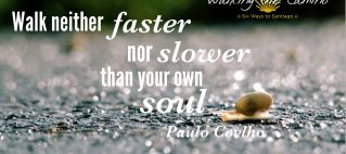 """""""Walk neither faster nor slower thank your own soul."""" Paulo Coelho"""
