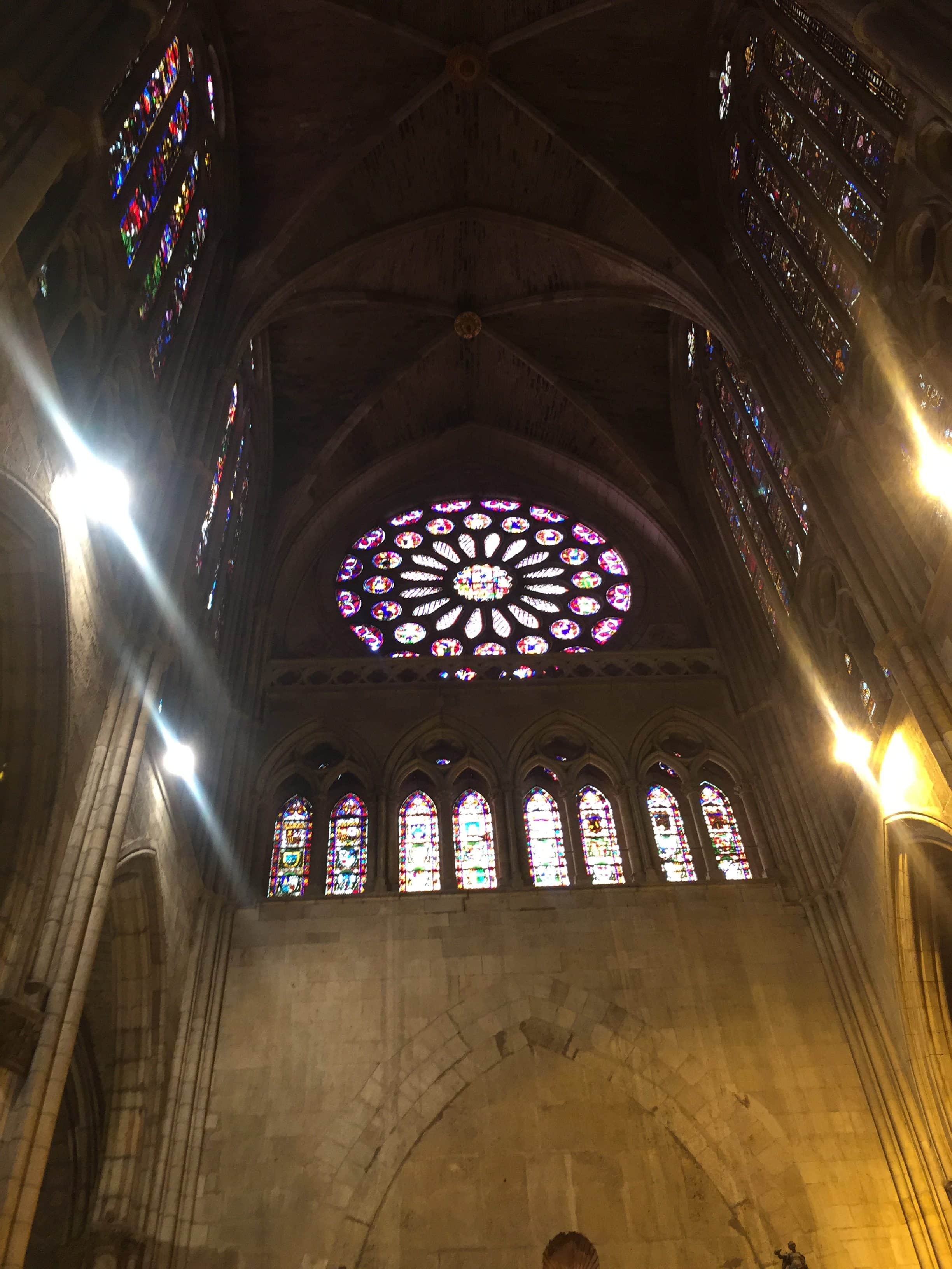 Stained glass windows inside cathedral