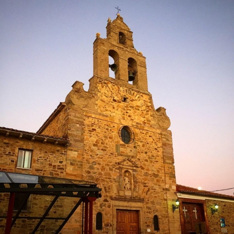 Sunset on a church across the street from my albergue