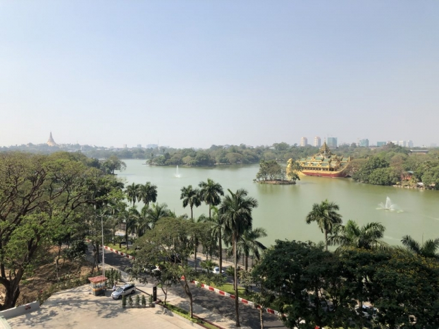 Views over the lake in Yangon