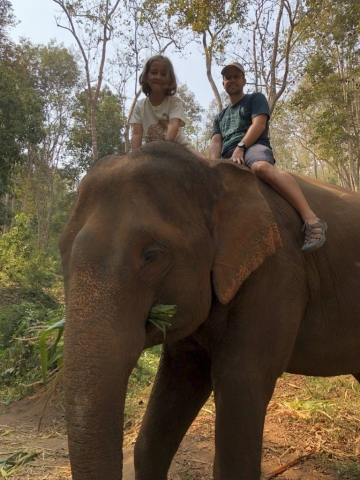 riding an elephant without a seat