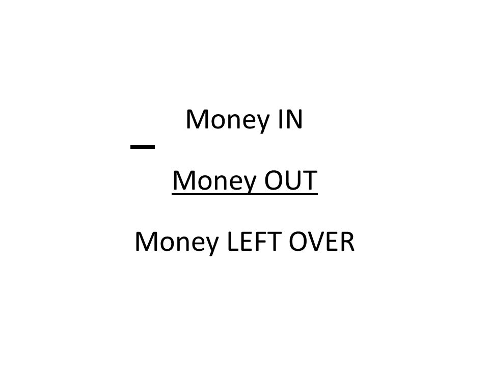 Money in - money out = money left over.