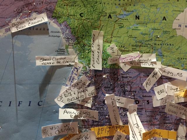 A map in the church. Sherri representing Victoria!