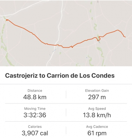 Strava: Castrojeriz to Carrion de Los Condes