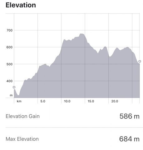 Strava: Portomarin to Palas del Rei Elevation