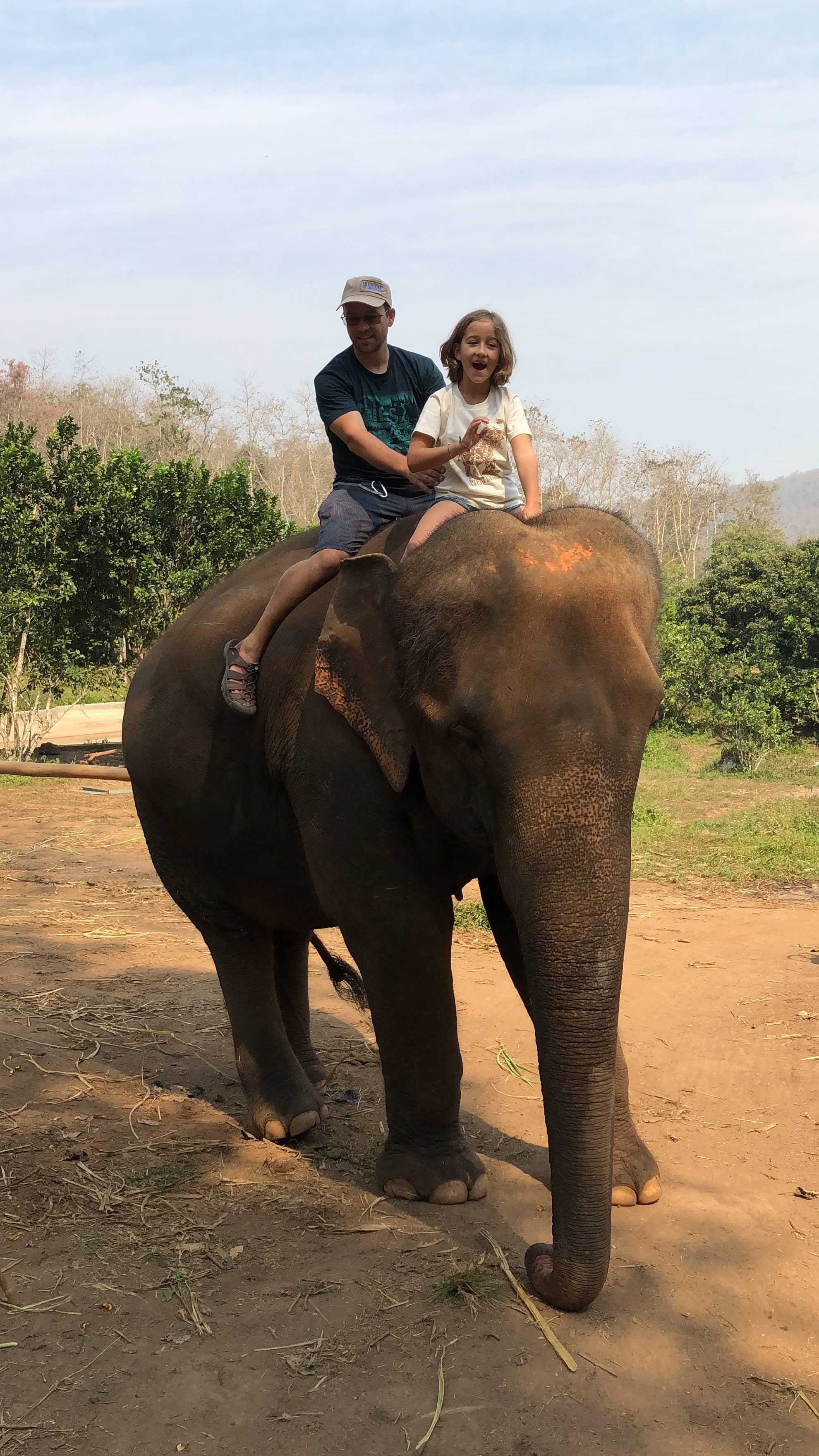 Riding elephants bareback