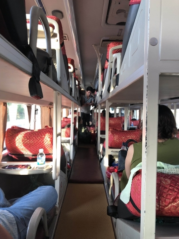 Inside the sleeper bus