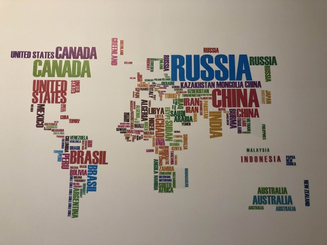 Map of the world inside the airbnb