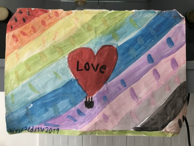 Love: a painting that Vivi made in Myanmar that we left behind in Ubud, Bali