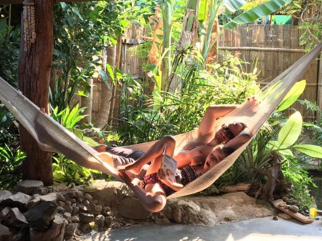 Chillaxing in the hammock reading