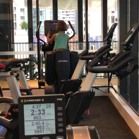 Working out at the fancy hotel