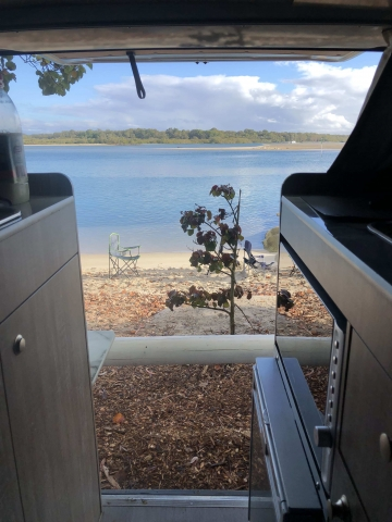 View from our van to our backyard/river